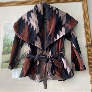 Monrow Knit Jacket Blazer Tribal Native Work Home